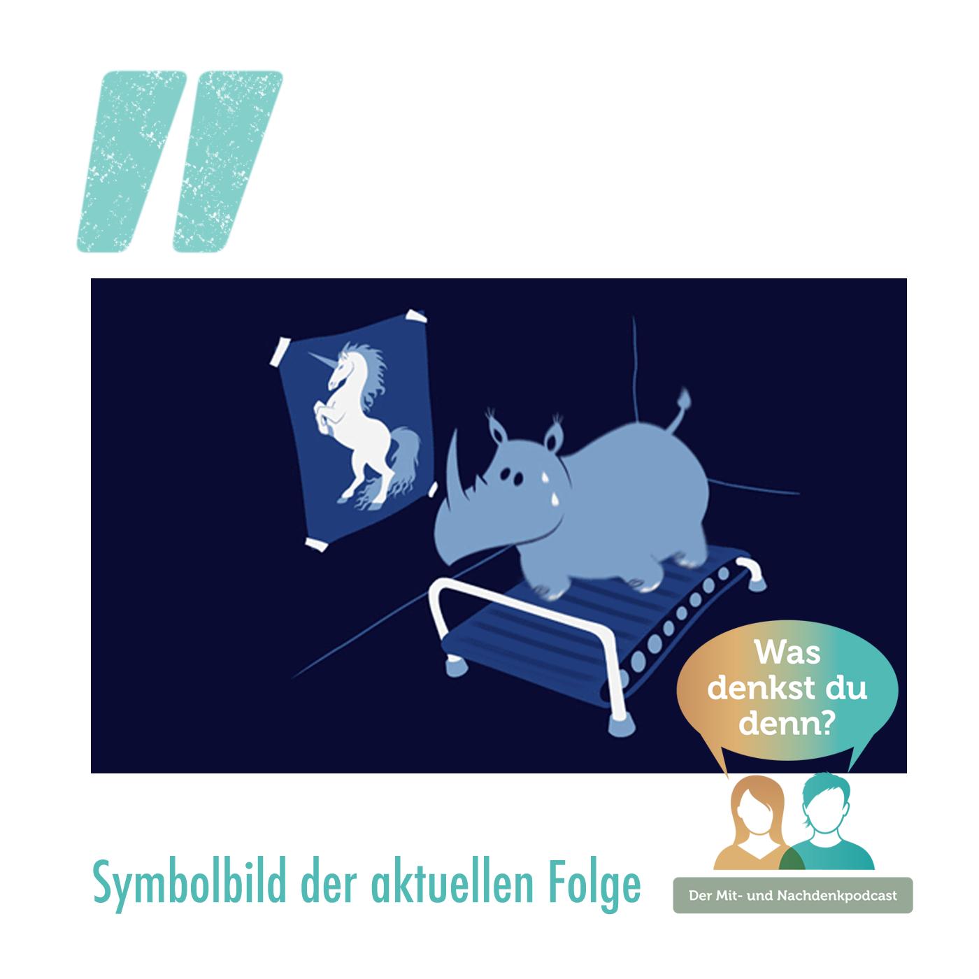 Ein Nashorn müht sich vor dem Bild eines Einhorns auf einem Laufband ab
